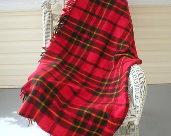"Wool Throw Blanket Red Yellow Plaid 57""X55"" Vintage Faribo"