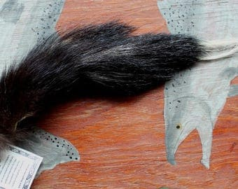 Skunk tail - Real eco-friendly striped skunk fur totem dance tail NO AROMA on carabiner keychain purse charm for shamanic dance SK04