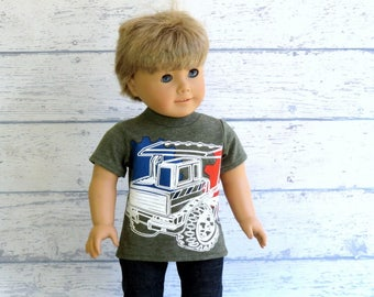 "18"" Boy Doll Truck Tee Shirt, American Boy Doll Short Sleeve T Shirt"