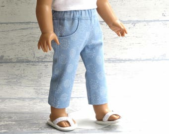 18 inch Doll Blue Floral Denim Capri's with Pockets