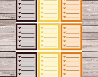 Thanksgiving Solid List Set of 9 Full Boxes Planner Stickers Erin Condren Planner Stickers, ECLP, Filofax, Kikki K