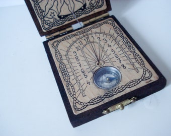FOUND IN SPAIN -- exquisite pocket sundial and comapss