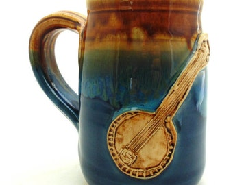 Handmade Pottery Mug   ceramics and pottery    Banjo Mug   blue and brown    Jewel Pottery