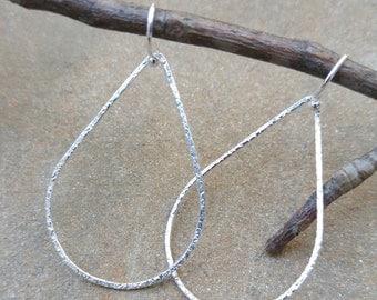 Hammered Sterling SIlver Teardrop Hoop Earrings
