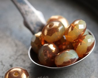 GILDED BUTTERSCOTCH .. 10 Premium Picasso Czech Glass Rondelle Beads 6x8-9mm (5650-10)