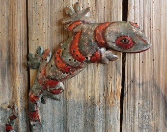 Gecko Lizard - holey copper metal climbing reptile sculpture - wall hanging - with blue and iridescent red patinas - OOAK