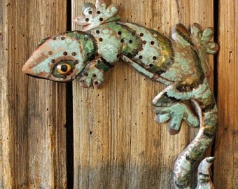 Gecko Lizard - holey copper metal climbing reptile sculpture - wall hanging - with turquoise blue-green and iridescent green patinas - OOAK