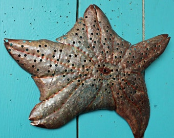 Sea Star Starfish - large holey copper metal sea life art sculpture - wall hanging - with turquoise-blue and red-brown patina - OOAK