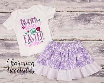 Baby Girl Easter Outfit, Baby Girl Clothes, Toddler Girl Clothes, Glitter Top Ruffled Twirl Skirt, Bunny Kisses Easter Wishes Purple