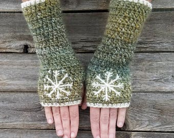 Fingerless Gloves with Snowflake, Blue, Green, Cream, Armwarmers, Women's Gloves, Warm, Embroidered, Hippie, Boho, Bohemian, MADE TO ORDER