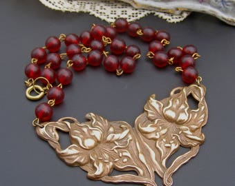 Lily Necklace,  Floral Necklace, Vintage Art Nouveau Necklace, Garnet Red Bead Jewelry, Flower Necklace