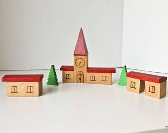 Toy Wood Village Church Set, 13 Wood Blocks East Germany
