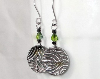 Fine Silver PMC Earrings, Wire Wrapped Jewelry, Peridot Earrings, Gifts For Her