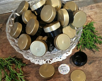 50 Lot New Empty 1/4oz Black Jars Gold Plastic Screw On Caps Lids Container 1tsp USA for Cosmetics Herbs Samples #3301 Skin Care