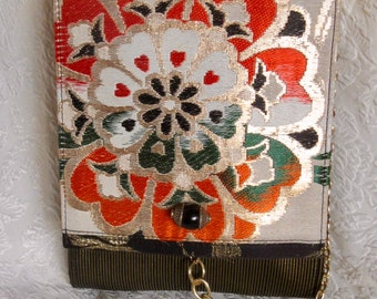 Handmade Vintage Kimono - Obi Fabric Purse w/ Chain Shoulder Strap