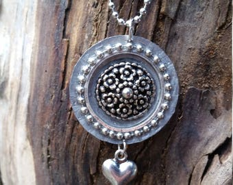 Hammered rescued bottle cap flower pendant with heart charm