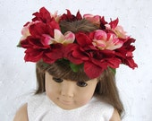Red Flower Crown 18 Inch Doll Flower Crown  Am Girl Doll Red Flower Crown AG Doll Flower Crown American Girl Doll Red Rose Flower Crown