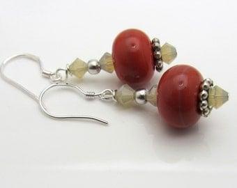 Lampwork Earrings Coral Glass Earrings Glass Bead Earrings Dangle Drop Earrings with Swarovski Crystals SRAJD USA Handmade