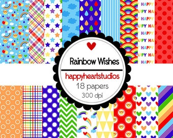 Digital Scrapbooking RainbowWishes, Rainbow, Clouds, Rain -INSTANT DOWNLOAD