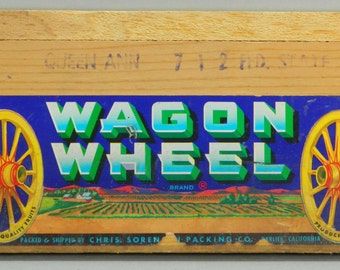 California Fruit Crate Label Wagon Wheel Chris Sorenson Parlier CA on Wood 18036