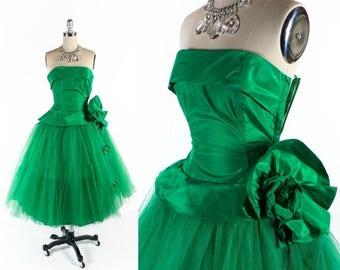 "40% OFF SALE Vintage 50s Prom Dress // 1950s Prom Dress // GREEN Prom Dress // Strapless Prom Dress // Tulle Dress - sz Xs - 24"" Waist"