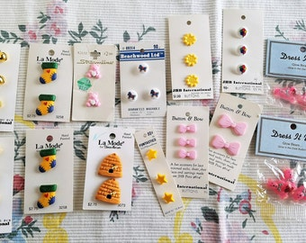SALE!!  Large Lot of 14 Carded Buttons, Juvenile, For Sewing and Crafting