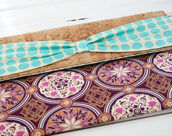 Kindle Cover, Kindle Case, Nook Cover, Cork Kindle Case, Sustainable Kindle Sleeve, Vegan kindle case in Wanderlust Purple Medallion