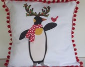15% OFF SALE - DIY Pillow Panel - Holiday Penguin