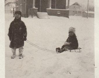 Original Vintage Photograph Small Children Boy Girl Snow Sleds Sledding 1920s
