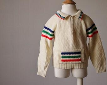 1970s Cream Stripe Sweater >>> Size 18/24 Months