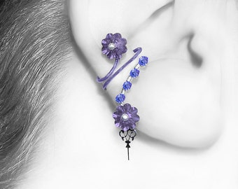 Purple Swarovski Crystal Steampunk ear cuff, Blue Crystal, No PIercing Needed, Watch Parts, Cartilage Earring, Amphitrite III v14