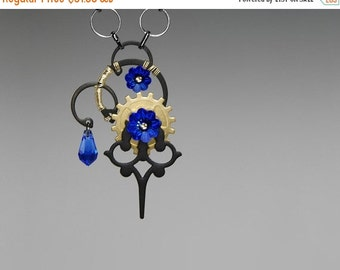 Sapphire Swarovski Crystal Steampunk Pendant, Vintage Clock Hands, Swarovski Necklace, Blue Crystal Pendant by Youniquely Chic, Nyx v24