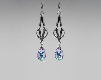 Swarovski Crystal Industrial Earrings, Pastel Crystal, Vitrail Light Swarovski, Gunmetal, Bold Earrings, Statement Earrings, Bridal jewelry