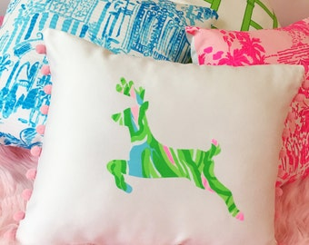 New custom Made To Order Reindeer Pillow made with Lilly Pulitzer fabric, Single initial on opposite side for use after holidays