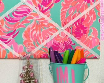 New memo board made with Lilly Pulitzer Love Birds fabric