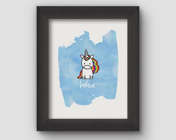 Unicorn Print – Unicorn Art – Digital Download – Digital Print – Believe in Unicorns – Unicorns and Rainbows – Unicorn Party – Inspiration