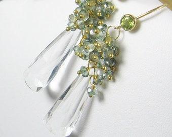 25% OFF Teal Quartz Gemstone Cluster Long Dangle Earrings, Elongated Gemstones