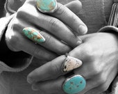 CUSTOM ORDER for KristieOCD ~ number 8 turquoise and sterling silver custom stamped message ring