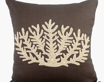 Brown Linen Decorative Throw Pillow Covers Accent Pillow Couch Pillow Case 16x16 Ivory Bead Embroidered Pillow Cover - Coral Harvest