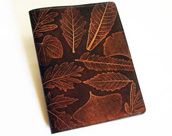 Leather Notebook Cover with Leaf Design - Fits 5x8 Inch Notepad (Small Legal Pad)