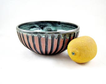 Stoneware pottery bowl, handmade small bowl, Ceramic bowl in green river, baby bowl - In stock
