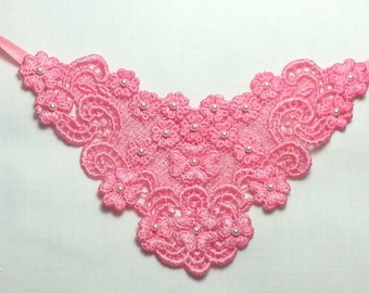 Shades of pink  - Hand dyed applique  stoma cover necklaces