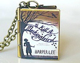 To Kill A Mockingbird, Harper Lee, American Lit, Pulitzer Prize Novel, Atticus Finch, Southern Gothic, Book Locket Necklace, Depression Era
