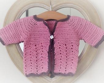 Crochet Pattern Seamless Top Down Baby Girl Cardigan Jacket Sweater - Roesia a seamess top down raglan cardigan (6 sizes baby - 7yrs)