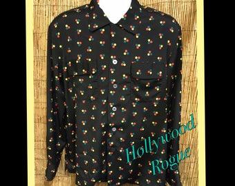 Vintage reproduction Hollywood Rogue 50s style polka dot print shirt
