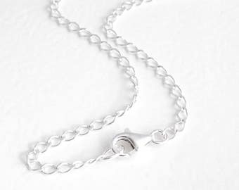 Men's Sterling Silver Chain, 22 Inch Necklace Chain, Silver Curb Chain