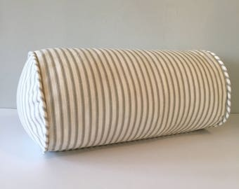 Gray Striped Ticking Throw Pillow Bolster