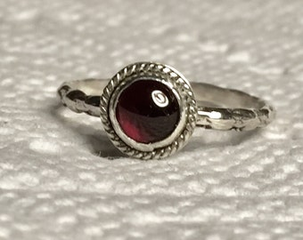 Sterling Silver Garnet Ring, Handmade Silver Stacking Ring, Garnet Stacker, Garnet Gemstone Ring, Garnet Jewelry, January Birthstone Ring