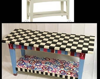 Whimsical Painted Shaker Bench, Painted Bench, Whimsical Furniture