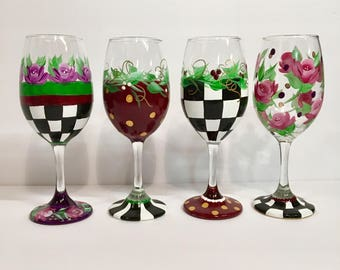 Painted Glassware set of 4 // Painted Wine Glass // Painted stemware